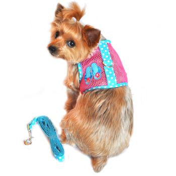 Tropical Pink and Aqua Beach Flip Flops Cool Mesh Dog Harness & Leash - Harnesses - BeauJax Boutique