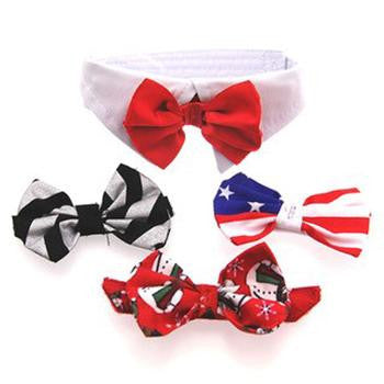 Four Satin Interchangeable Bow Ties and White Cotton Dog Collar Set - Dog Bow Ties and Collars - BeauJax Boutique