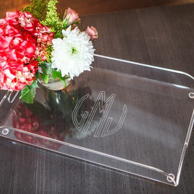 Etched Monogram Acrylic Tray with Serving Handles - Home - BeauJax Boutique
