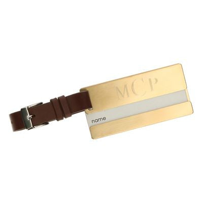 Engraved Stainless Steel Luggage Tag in Gold or Silver Finish - Mens - BeauJax Boutique