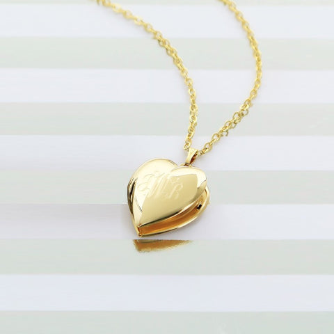 "Monogrammed Gold Heart Locket 18"" Necklace - Gold Jewelry - BeauJax Boutique"