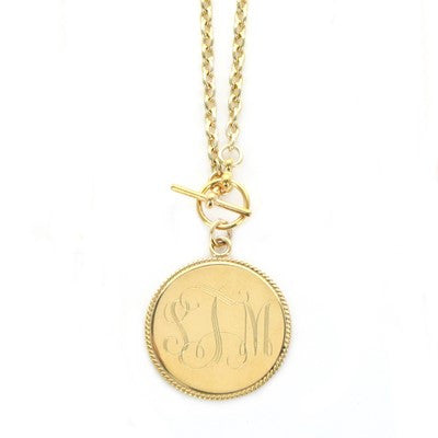 Monogrammed Braided Pendant with Toggle Necklace - Gold Jewelry - BeauJax Boutique