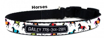 Celebrate Pet Identification and Dog Safety Month - Adorable Personalized Dog Collars in 27 Designs! - Horses- BeauJax Boutique
