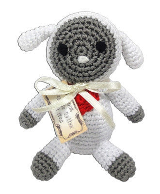Knit Knacks Crotcheted Fleece the Lamb Small Dog Toy by Pet Flys - Dog Toys - BeauJax Boutique