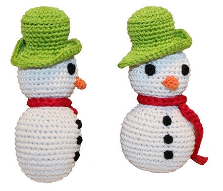 Holidays Knit Knacks Crotcheted Frost the Snowman Small Dog Toy by Pet Flys - Dog Toys - BeauJax Boutique