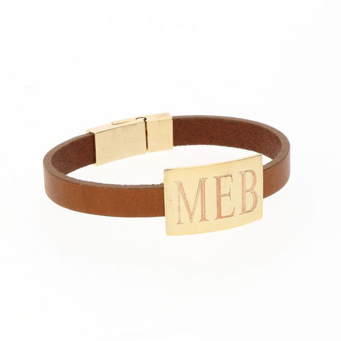 NEW! Gold Monogrammed Rectangle Leather Bracelet in Black or Brown - Bracelets - BeauJax Boutique