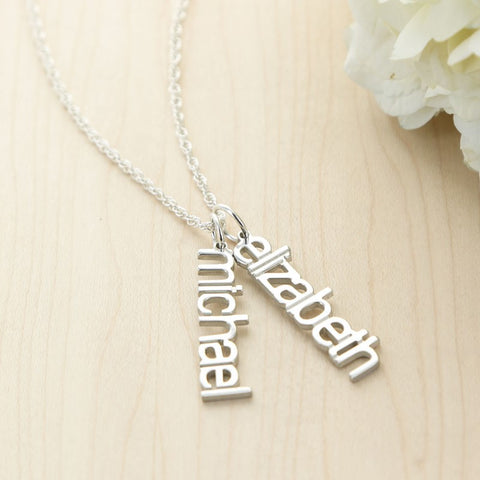 Modern Silver Name Necklace - Necklaces - BeauJax Boutique