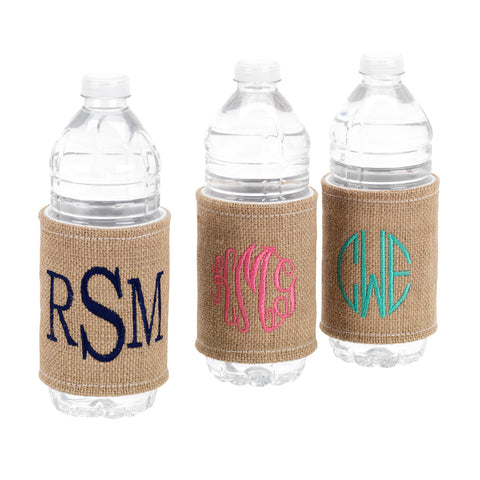Burlap Monogrammed Drink Wrap - Drink Wraps - BeauJax Boutique