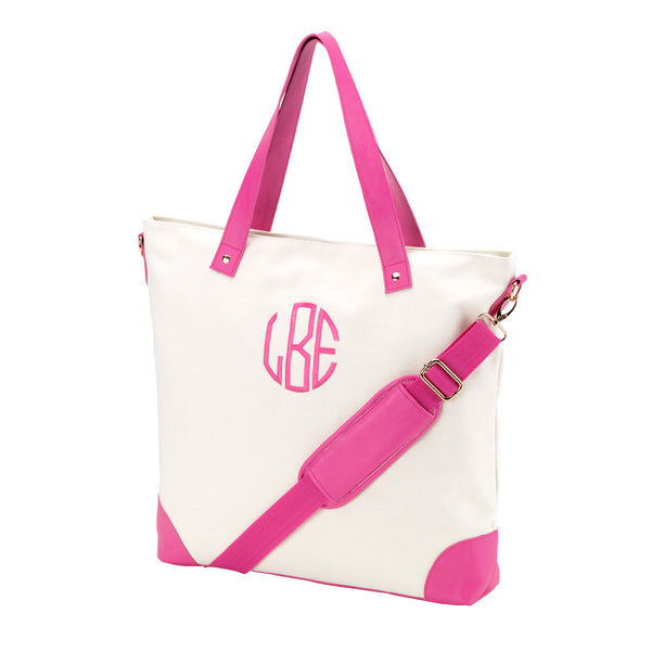 Canvas Monogrammed Shoulder Bag in 3 Colors - Canvas Bags - BeauJax Boutique