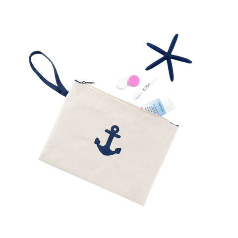 Preppy Anchor Monogrammed Canvas Accessories and Cosmetics Pouch - Accessories and Cosmetics Bags - BeauJax Boutique