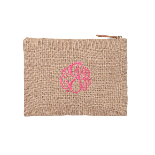 Burlap Monogrammed Accessories and Cosmetics Pouch - Burlap - BeauJax Boutique