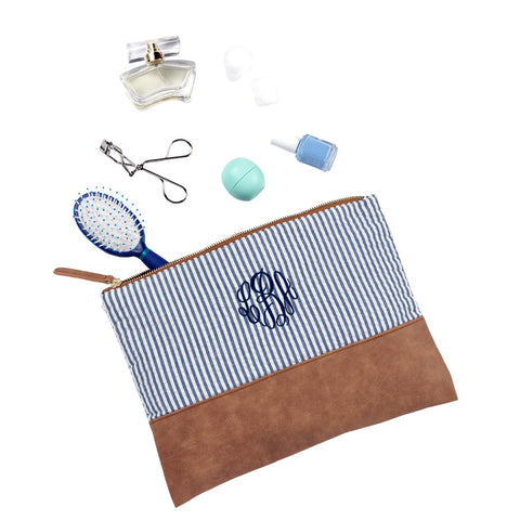 Navy Seersucker Accessories and Cosmetics Pouch - Accessories and Cosmetics Pouch - BeauJax Boutique