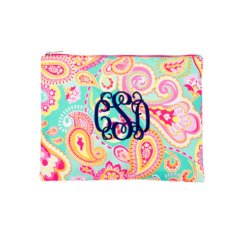 summer-paisley-monogrammed-accessories-and-cosmetics-pouch - BeauJax Boutique