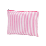Pink Seersucker Monogrammed Accessories and Cosmetics Pouch - Accessories and Cosmetics Bags - BeauJax Boutique