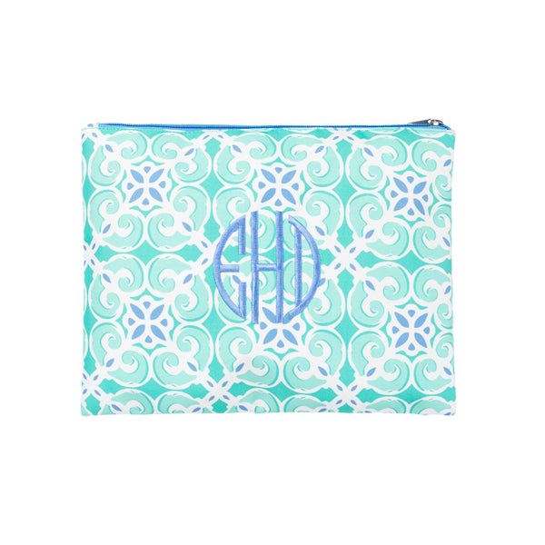 Sea Tile Monogrammed Accessories and Cosmetics Pouch - Zip Pouch - BeauJax Boutique
