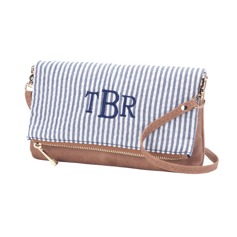 Navy Seersucker Crossbody Purse - Seersucker Bags - BeauJax Boutique