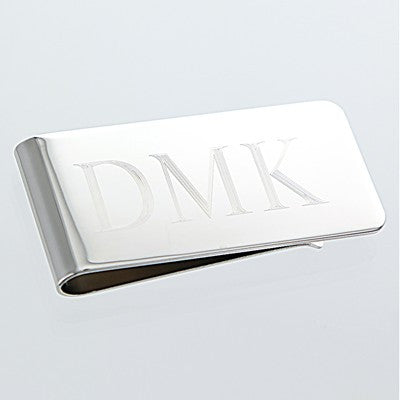 Engraved Rhodium Plated Brass Money Clip - Mens - BeauJax Boutique