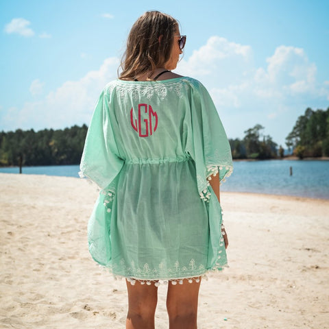 NEW! Monogrammed Pom Pom Beach and Pool Coverup - Beach Coverups - BeauJax Boutique
