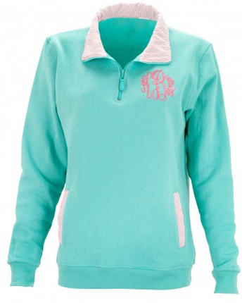 Mint Monogrammed Gingham Pullover - Pullover - BeauJax Boutique
