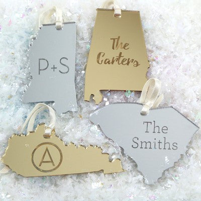 Mirrored Engraved State Ornaments - Holiday Ornaments - BeauJax Boutique