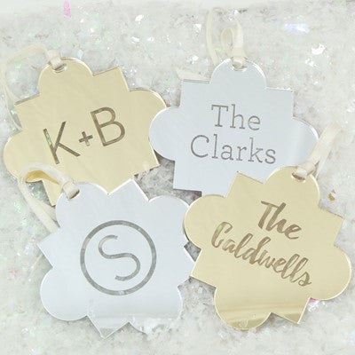 Mirrored Engraved Quatrefoil Ornaments - Holiday Ornaments - BeauJax Boutique
