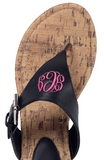 Preppy Monogrammed Sandals in Black and Brown - Sandals - BeauJax Boutique