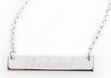 Silver Engraved Horizontal Bar Nameplate Necklace - Necklaces - BeauJax Boutique