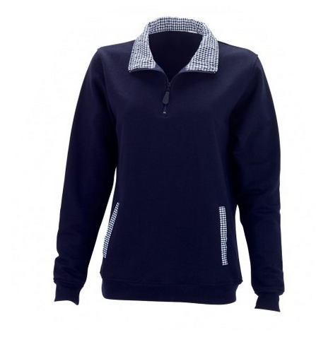 Navy Blue Monogrammed Gingham Pullover - Pullover - BeauJax Boutique