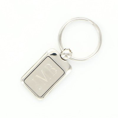 Engraved Nickel Plated Rectangular Keychain - Mens - BeauJax Boutique