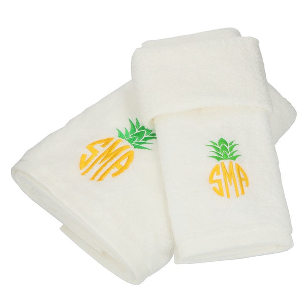 White Cotton Monogrammed Towel Set - Pineapple Monogram - BeauJax Boutique