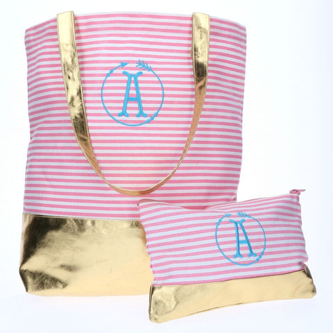Pink Pinstripe Monogrammed Canvas Tote Bag with Gold Foil Block - Tote Bags - BeauJax Boutique