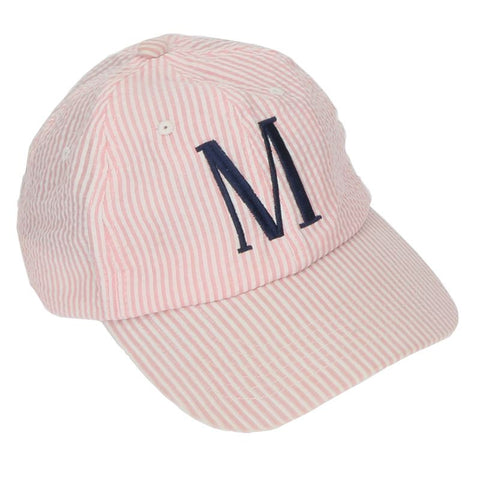 NEW! Seersucker Monogrammed Baseball Caps in Blue, Pink and Grey - Baseball Caps - BeauJax Boutique