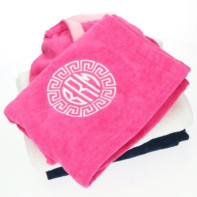 Cotton Terry Monogrammed Pool and Bath Wrap in 3 Colors - Bath Essentials - BeauJax Boutique