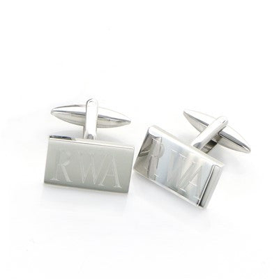 Engraved Rectangle Stainless Steel Cuff Links - Mens - BeauJax Boutique