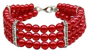 Three Strand Pearl Dog Necklace in Red - Weddings - BeauJax Boutique