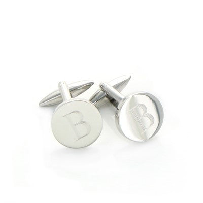 Engraved Round Stainless Steel Cuff Links - Mens - BeauJax Boutique