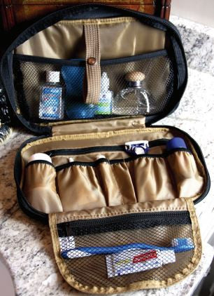 Black Monogrammed Toiletry Kit for Travel - Travel Accessories - BeauJax Boutique