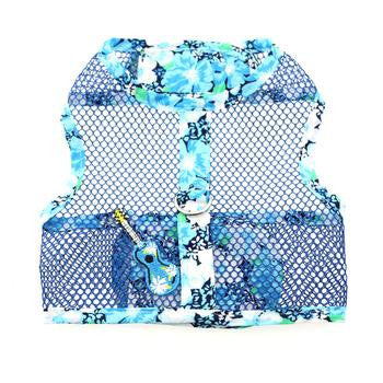 Ukelele Blue Hawaiian Hibiscus Cool Mesh Dog Harness and Matching Leash - Harnesses - BeauJax Boutique