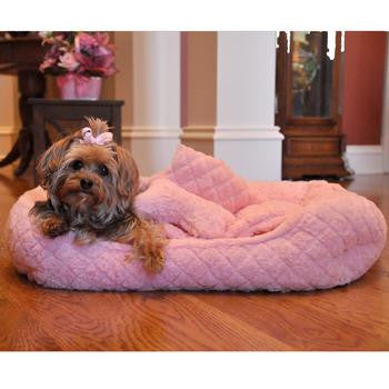 Plush Pink Faux Fur Diamond Quilted Dog Bed, Blanket and Bone Pillow Set - Dog Beds and Comfort Mats - BeauJax Boutique