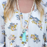 Wood Beaded Tassel Necklace with Monogram Charm - Necklaces - BeauJax Boutique