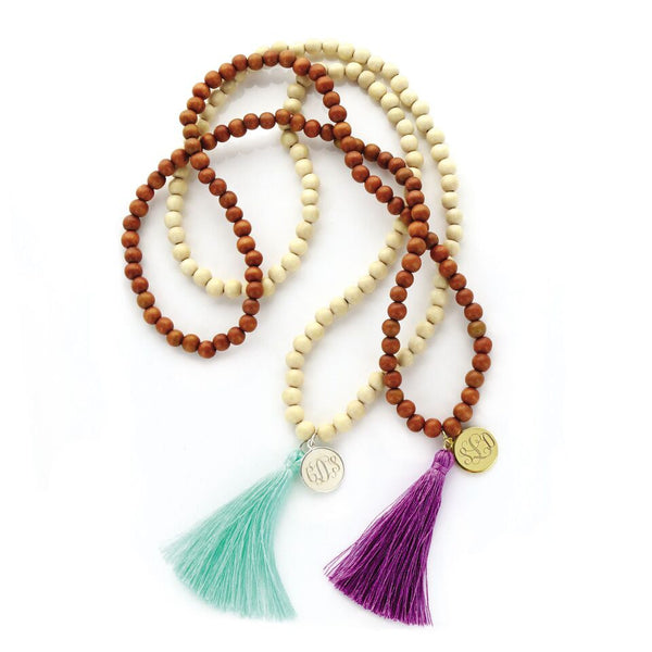 Wood Beaded Tassel Necklace with Monogram Charm- Light and Dark Wood Beads - BeauJax Boutique