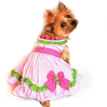 Pink Watermelon Collar Ruffled Designer Dog Dress - Doggy Dresses - BeauJax Boutique