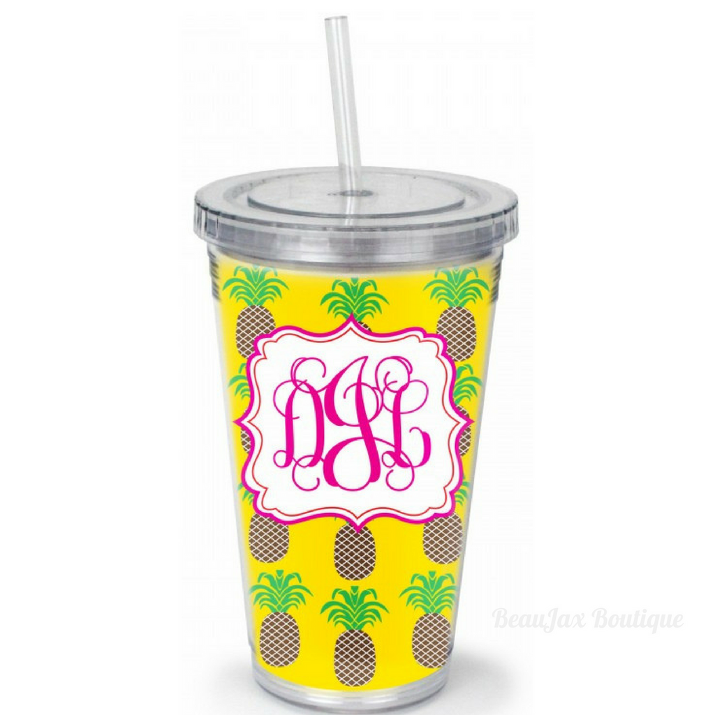 Monogrammed Acrylic Straw Tumblers in 34 Designs – BeauJax Boutique