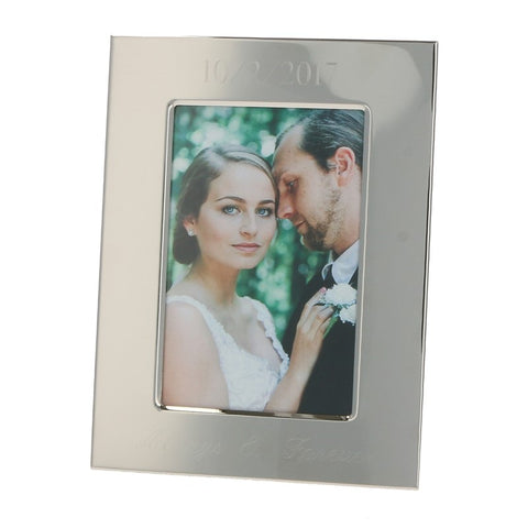 Engraved Silver Finish Photo Frame in 4x6 or 5x7 - Necklaces - BeauJax Boutique