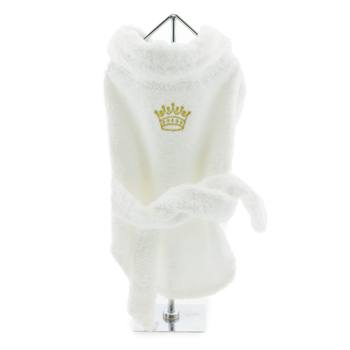 White Turkish Cotton Dog Bathrobe with Embroidered Gold Crown - Bathrobes - BeauJax Boutique