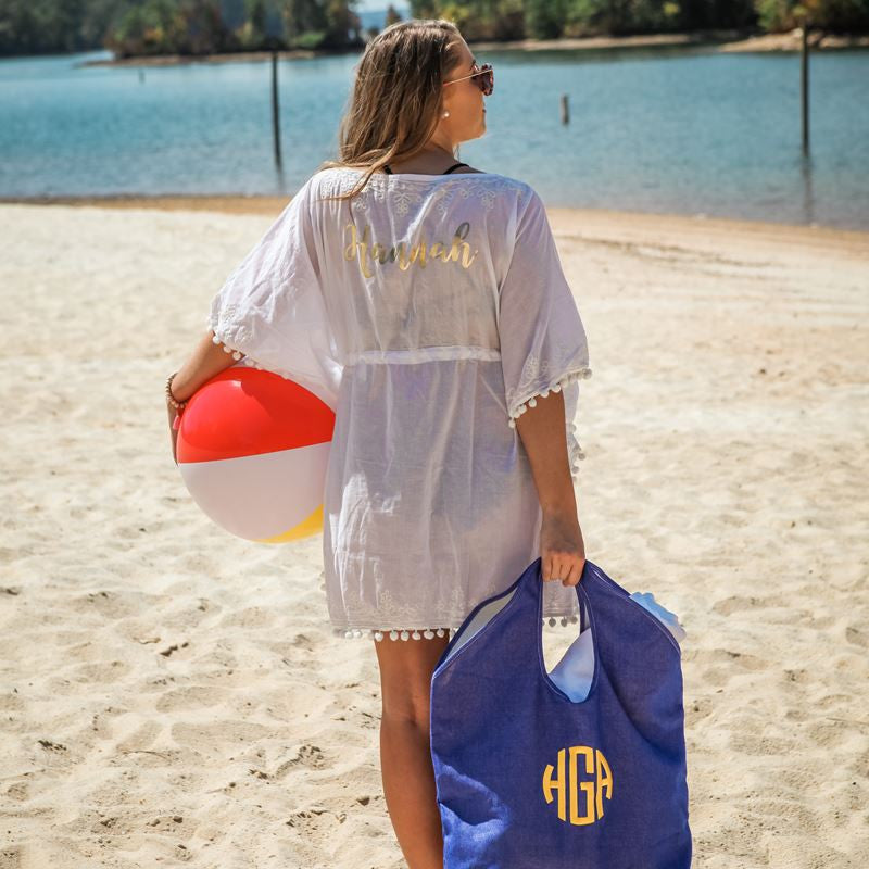 61c0c3b4b2 Monogrammed Pom Pom Beach and Pool Coverup - Beach Coverups - BeauJax  Boutique ...