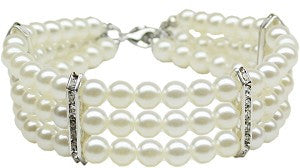 Three Strand Pearl Dog Necklace in White - Weddings - BeauJax Boutique