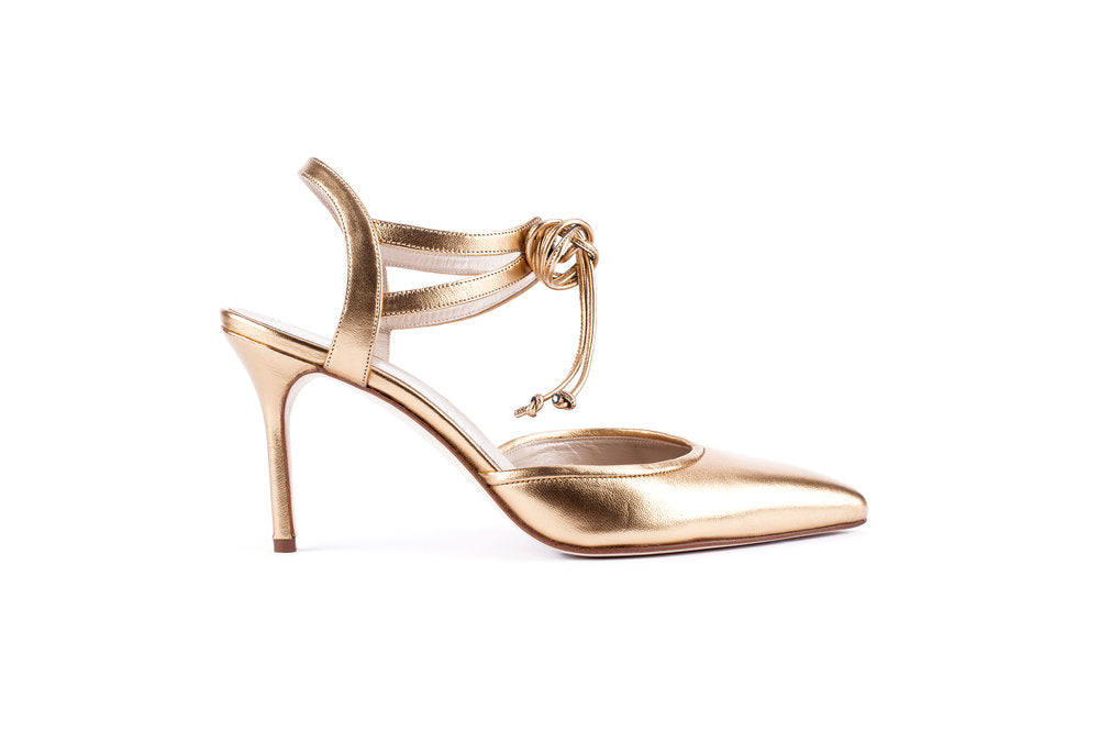 ELLE Ankle Tie Pump | Gold