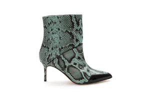 Apple green snakeskin ankle boot by MAISON BEDARD