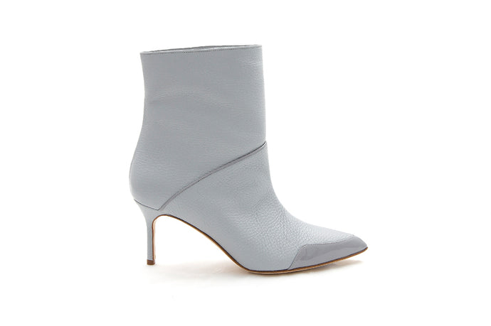 Grey leather ankle boot by MAISON BEDARD